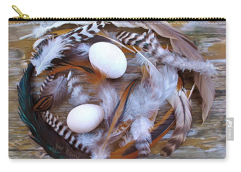 Poultry Carry-all Pouch featuring the digital art 1. Feather Wrath Example by Sigrid Van Dort