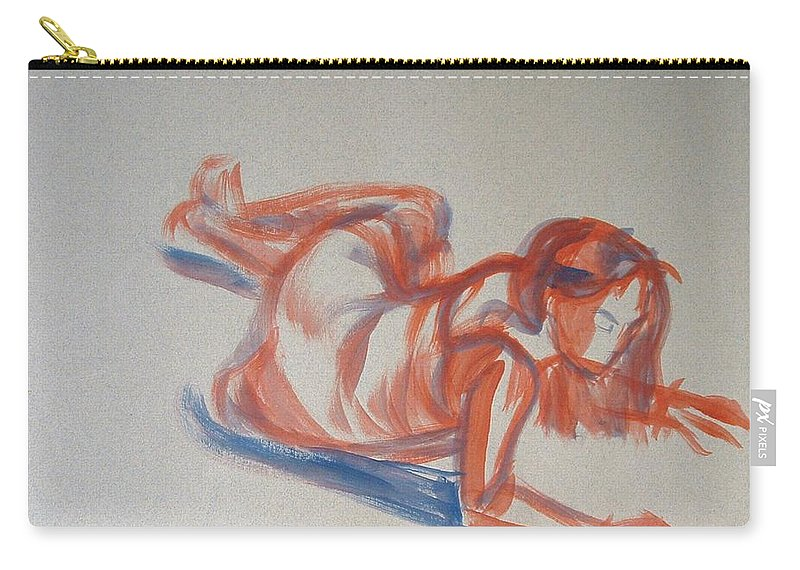 Girl Carry-all Pouch featuring the painting Female Figure Painting by Mike Jory