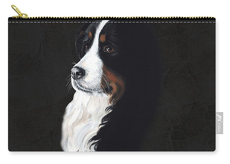 Irresistable Female Bernese Mountain Dog Carry-all Pouch featuring the painting Femme Fatail by Liane Weyers