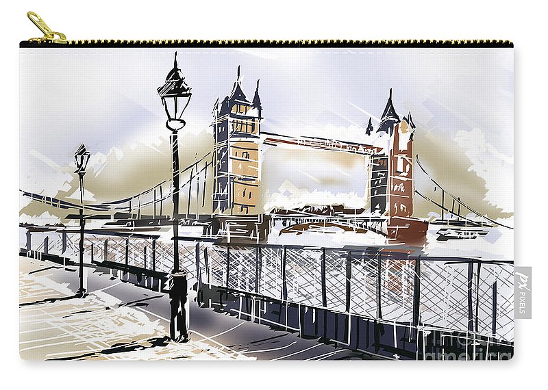 Bridge Carry-all Pouch featuring the photograph Fine Art Drawing The Tower Bridge In London Uk by Jorgo Photography - Wall Art Gallery