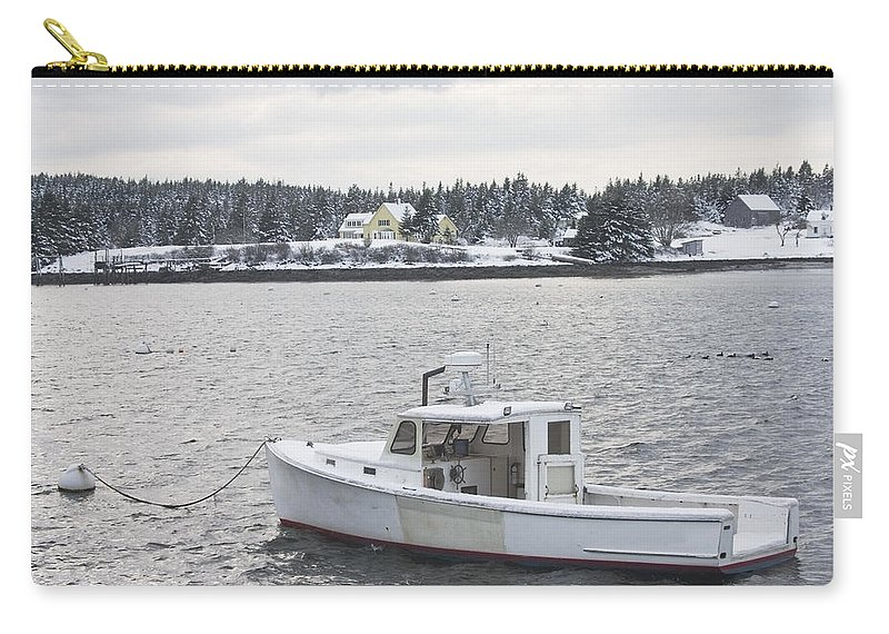 Port Clyde Carry-all Pouch featuring the photograph Fishing Boat After Snowstorm In Port Clyde Harbor Maine by Keith Webber Jr