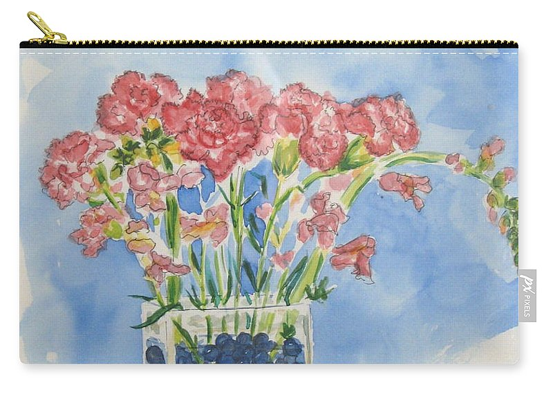 Flowers Carry-all Pouch featuring the painting Flowers In A Vase by Mary Ellen Mueller Legault