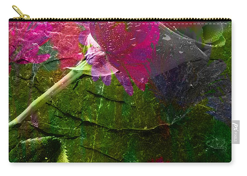 Flowers Mixed Media Carry-all Pouch featuring the mixed media Flowers by Marvin Blaine