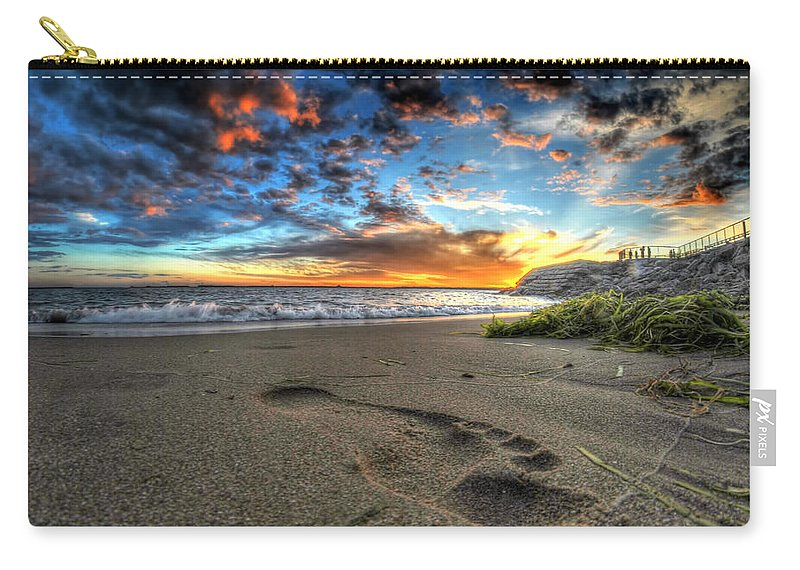 Sunset Carry-all Pouch featuring the photograph Foot Print In The Sand by Michael Frank Jr