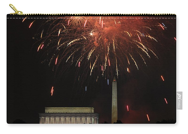 Fourth Of July Fireworks Seen Across The Potomac River At Washington Carry-all Pouch featuring the photograph Fourth Of July Fireworks At Washington Dc by Paul Fearn
