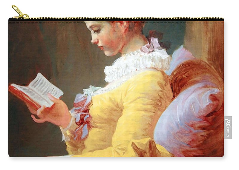Young Girl Ready Carry-all Pouch featuring the photograph Fragonard's Young Girl Reading by Cora Wandel