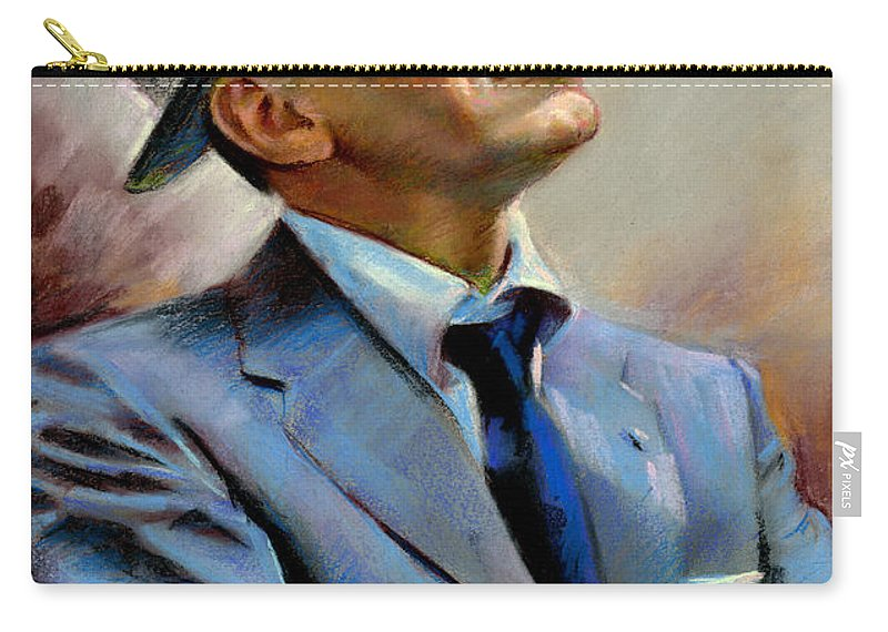 Francis frank Sinatra Carry-all Pouch featuring the pastel Frank Sinatra by Ylli Haruni