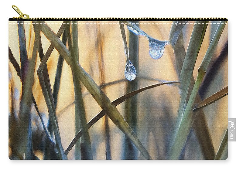 Grass Carry-all Pouch featuring the photograph Frozen Raindrops Impasto by Sharon Foster