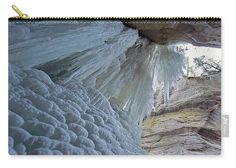 Unesco Carry-all Pouch featuring the photograph Frozen Waterfall At Maligne Canyon by Jim Julien / Design Pics