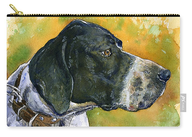 Dog Carry-all Pouch featuring the painting Full Attention by John D Benson