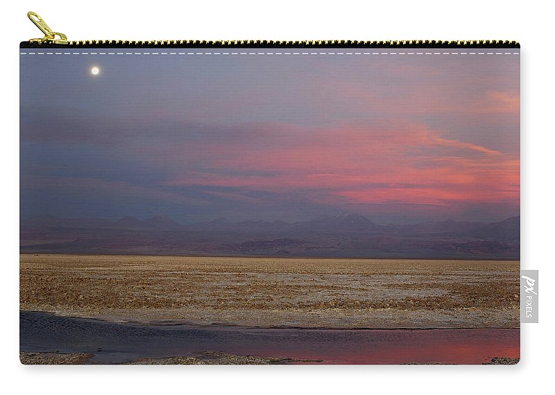 Altiplano Carry-all Pouch featuring the photograph Full Moon Over Laguna De Chaxa by Christian Heeb