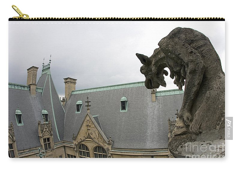 Biltmore Estate Carry-all Pouch featuring the photograph Gargoyles On Roof Of Biltmore Estate by Jason O Watson