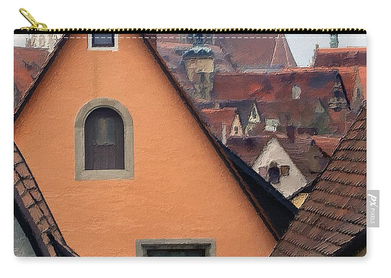 Germany Carry-all Pouch featuring the photograph German Rooftops Impasto by Sharon Foster