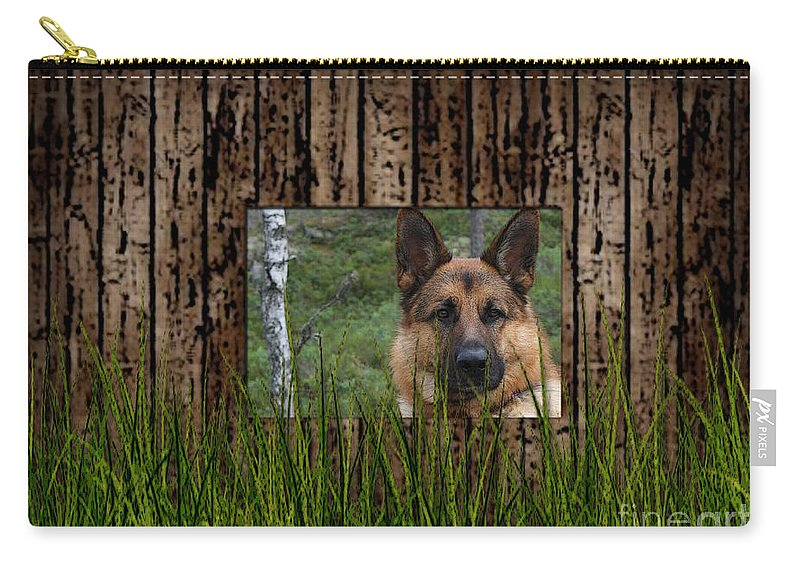 German Shepard Carry-all Pouch featuring the mixed media German Shepard by Marvin Blaine