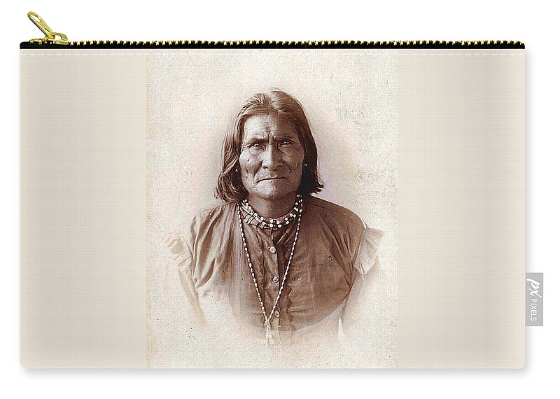 Unknown Carry-all Pouch featuring the digital art Geronimo Native American Chief by Unknown