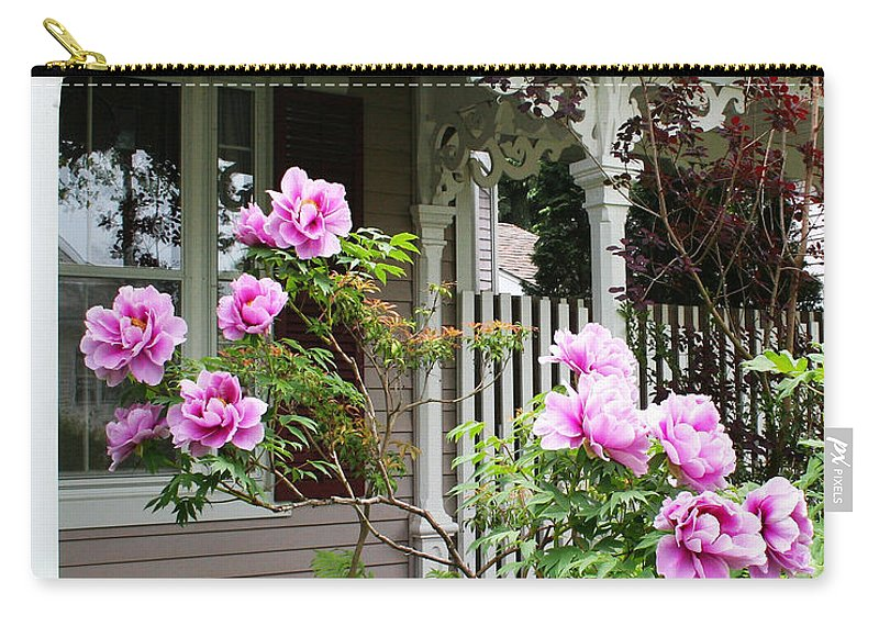 Flower Carry-all Pouch featuring the photograph Gingerbread And Tree Peonies by Barbara McMahon
