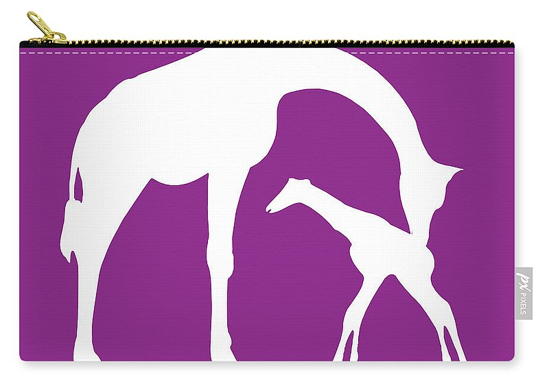 Graphic Art Carry-all Pouch featuring the digital art Giraffe In Purple And White by Jackie Farnsworth