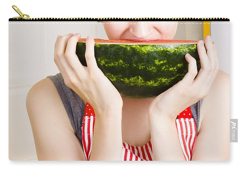 Apron Carry-all Pouch featuring the photograph Girl With Short Hair Eating Ripe Juicy Watermelon by Jorgo Photography - Wall Art Gallery