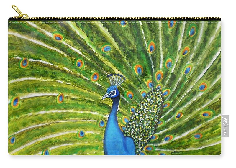Peacock India Bird Green Landscape Rajasthan Beauty Dance Feathers Eyes Orange Turquoise Carry-all Pouch featuring the photograph Glorious Peacock by Manjiri Kanvinde