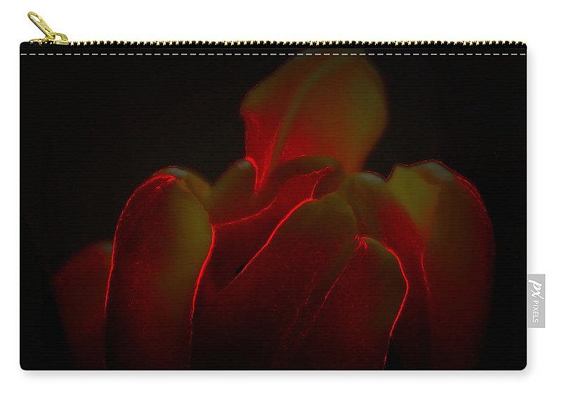 Digital Photograph Carry-all Pouch featuring the digital art Glowing Tulip by Laurie Pike