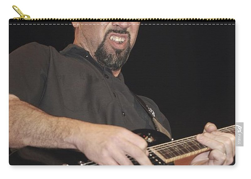 Guitarist Tony Rombola Is Shown Performing On Stage During A Live Concert Appearance With Godsmack. Performing Carry-all Pouch featuring the photograph Godsmack - Tony Rombola by Concert Photos