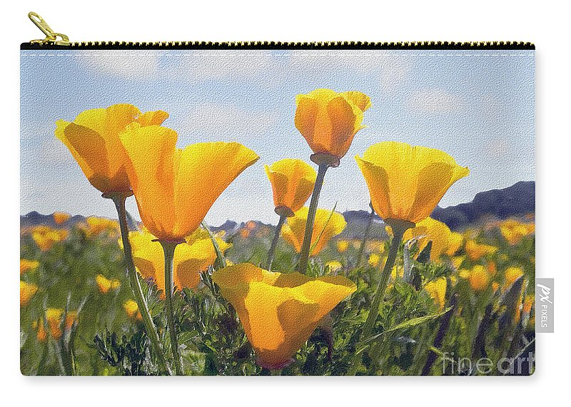Poppy Carry-all Pouch featuring the photograph Golden Poppies Impasto by Sharon Foster