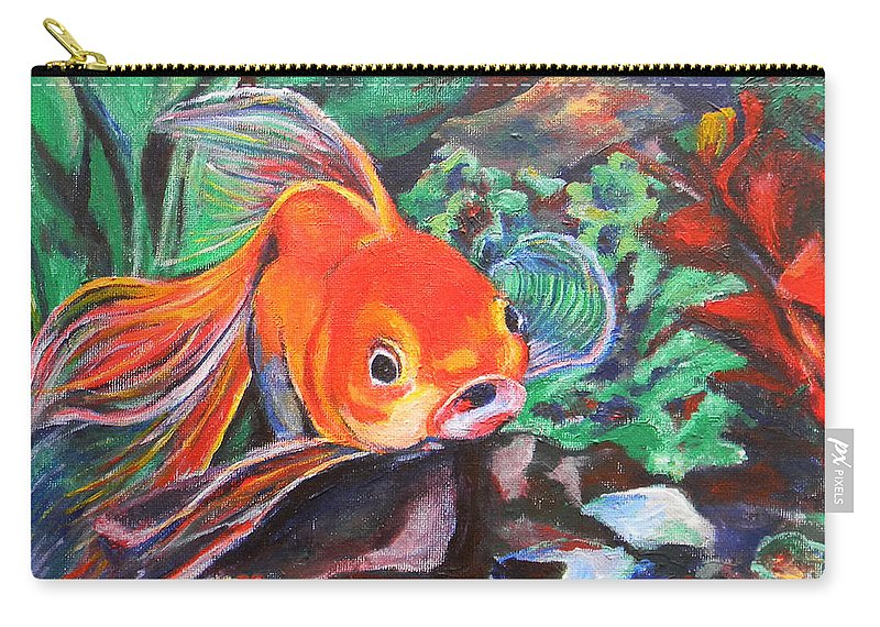 Goldfish Carry-all Pouch featuring the painting Goldie by Art by Kar