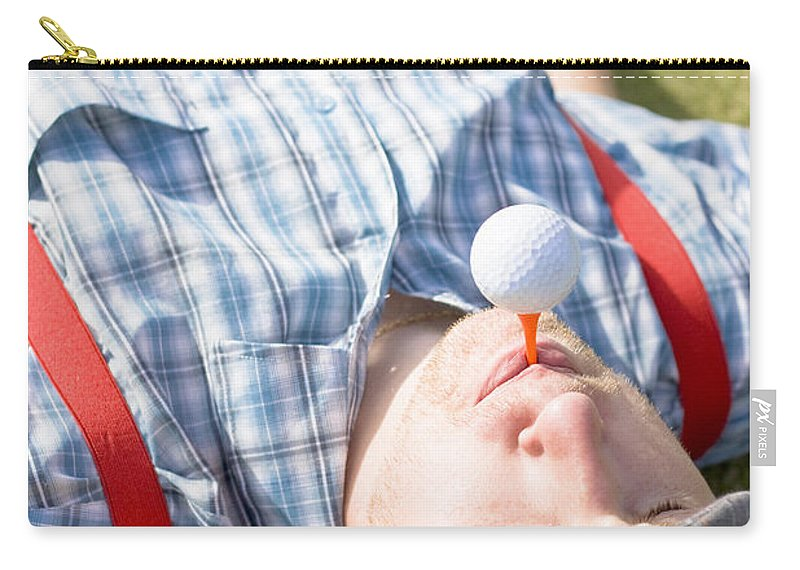 Rest Carry-all Pouch featuring the photograph Golf Player Finding Inner Balance by Jorgo Photography - Wall Art Gallery
