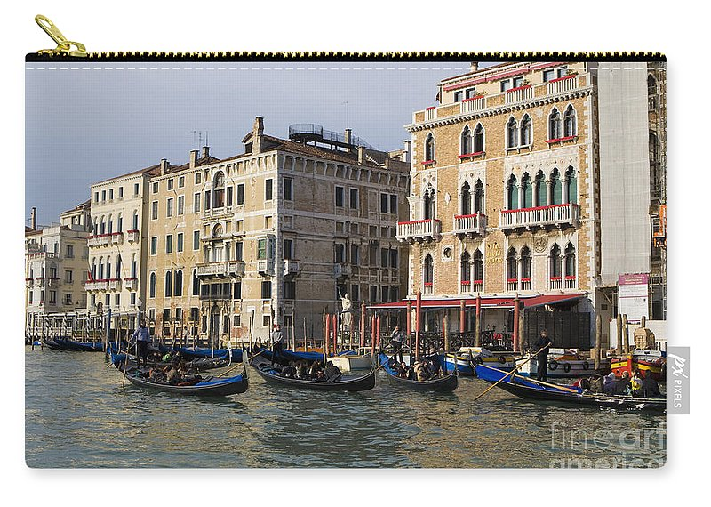 Travel Carry-all Pouch featuring the photograph Gondolas In The Grand Canal by Jason O Watson