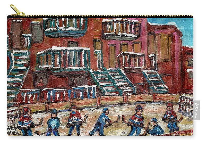 Hockey Carry-all Pouch featuring the painting Gorgeous Day For A Game by Carole Spandau