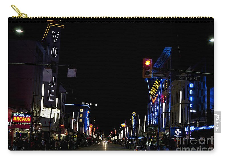 Travel Carry-all Pouch featuring the photograph Granville Street At Night Vancouver by Jason O Watson