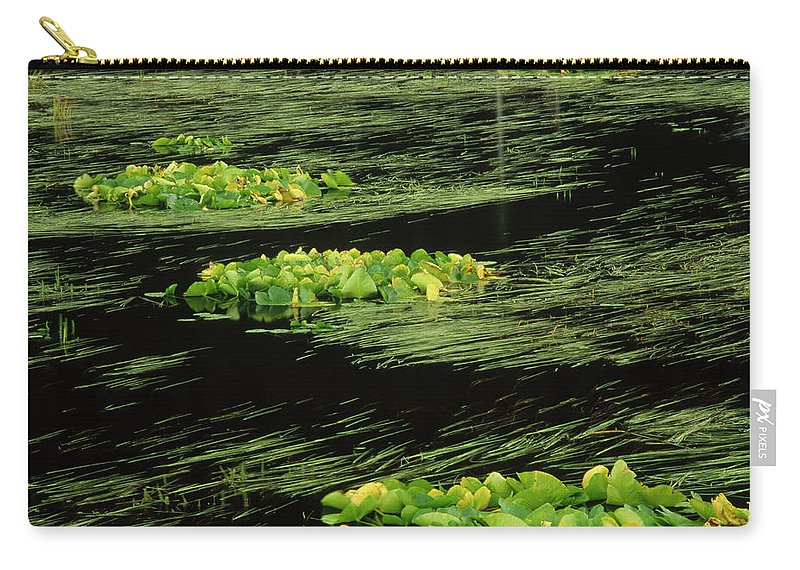 Alaska Carry-all Pouch featuring the photograph Grasses And Lilies In Beaver Pond by Gerry Ellis