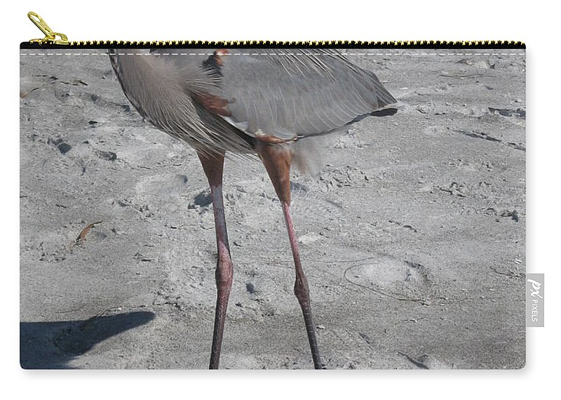 Heron Carry-all Pouch featuring the photograph Great Blue Heron On The Beach by Christiane Schulze Art And Photography