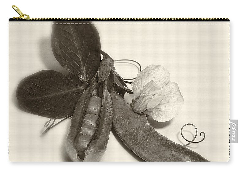 Iris Holzer Richardson Carry-all Pouch featuring the photograph Green Peas In Pod With White Flower by Iris Richardson