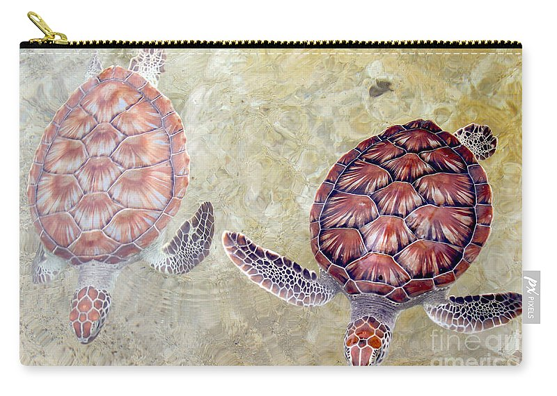 Turtle Carry-all Pouch featuring the photograph Green Turtles by Carey Chen