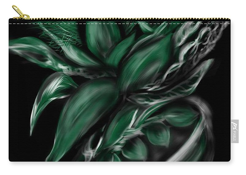 Greenery Carry-all Pouch featuring the digital art Greenery Gourd by Christine Fournier