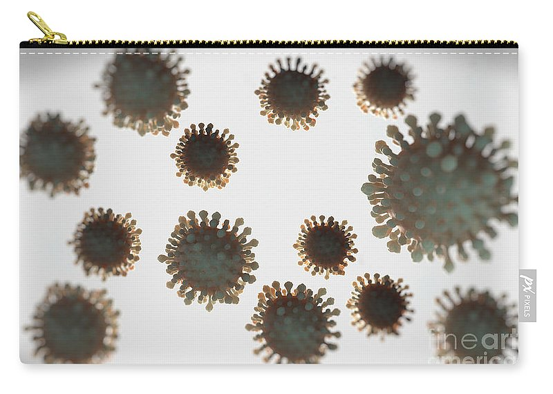 Digitally Generated Image Carry-all Pouch featuring the photograph H1n1 Virus Particles by Science Picture Co