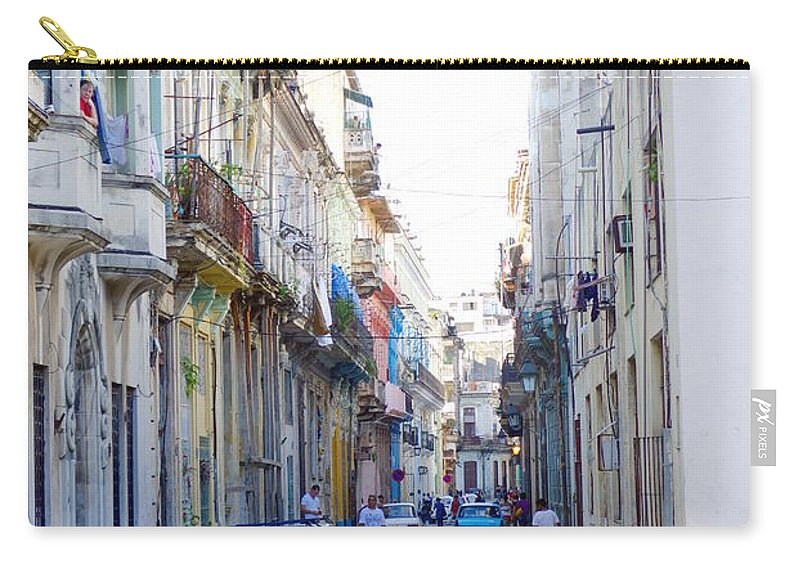 Habana Carry-all Pouch featuring the photograph Habana Street by Valentino Visentini