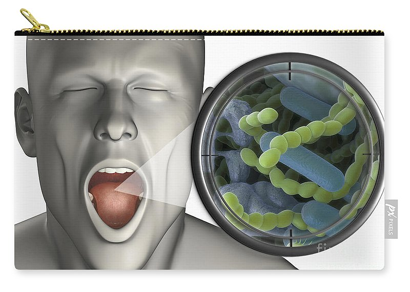 Bacterium Carry-all Pouch featuring the photograph Halitosis by Science Picture Co