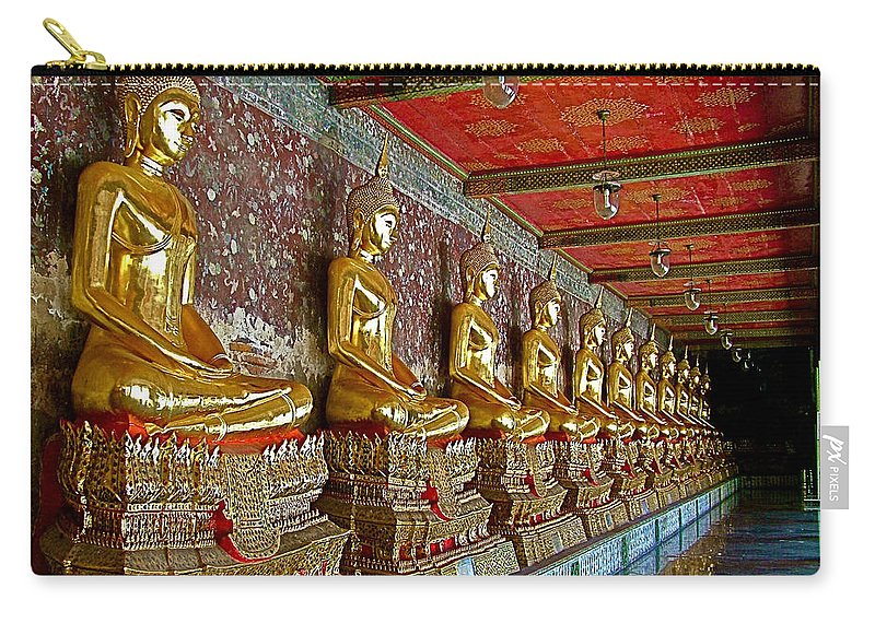 Hall Of Buddhas 2 In Wat Suthat In Bangkok Carry-all Pouch featuring the photograph Hall Of Buddhas At Wat Suthat In Bangkok-thailand by Ruth Hager