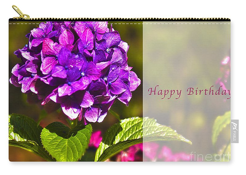 Happy Birthday Carry-all Pouch featuring the photograph Happy Birthday Hydrangea by Belinda Greb