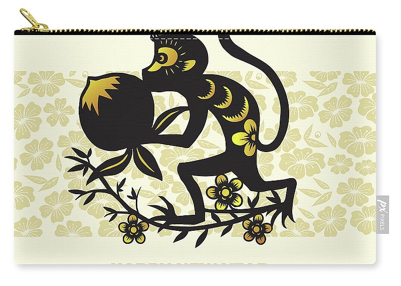 Chinese Culture Carry-all Pouch featuring the digital art Happy New Year, Year Of The Monkey 2016 by Ly86