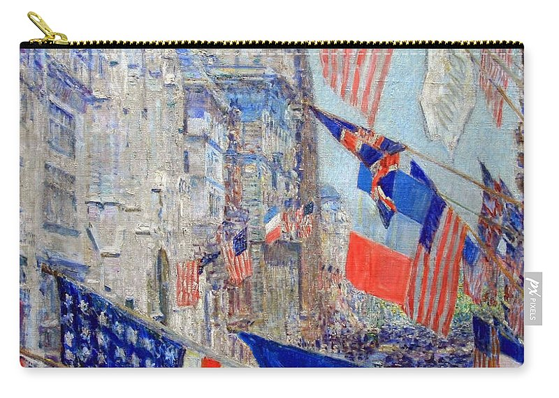 Allies Day Carry-all Pouch featuring the photograph Hassam's Allies Day May 1917 -- The Avenue Of The Allies by Cora Wandel