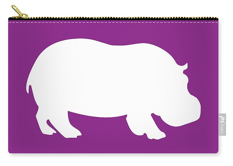 Graphic Art Carry-all Pouch featuring the digital art Hippo In Purple And White by Jackie Farnsworth