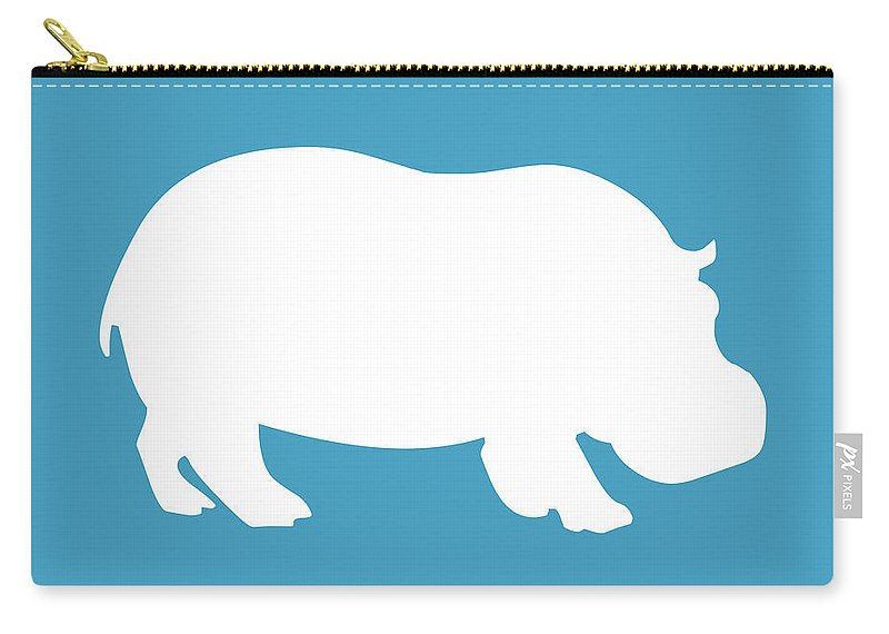 Graphic Art Carry-all Pouch featuring the digital art Hippo In White And Turquoise by Jackie Farnsworth