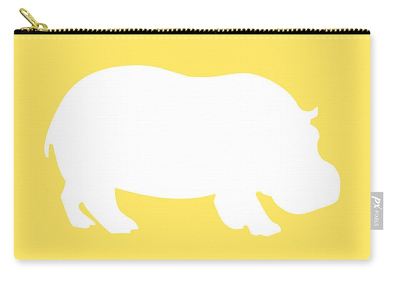 Graphic Art Carry-all Pouch featuring the digital art Hippo In Yellow And White by Jackie Farnsworth