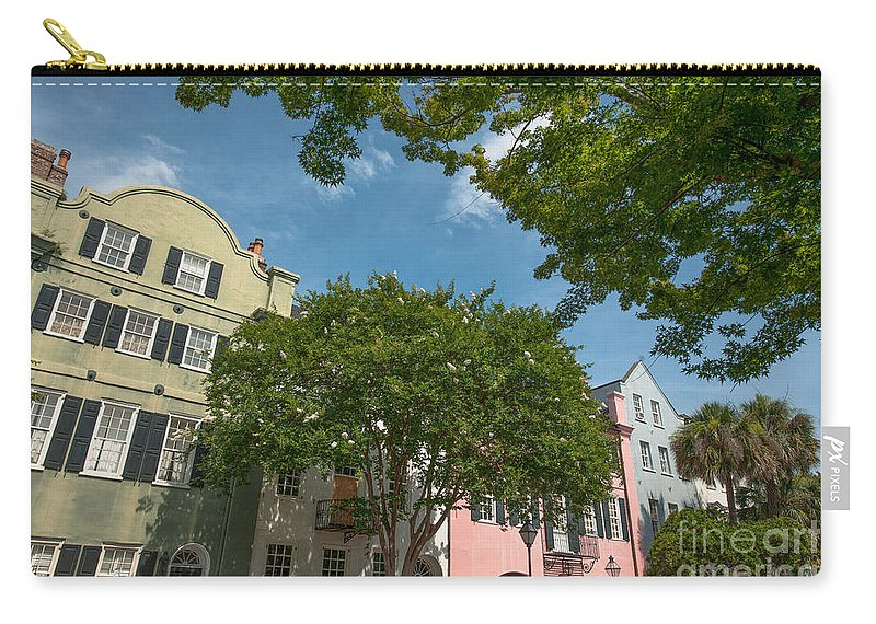Rainbow Row Carry-all Pouch featuring the photograph Historic Rainbow Row by Dale Powell