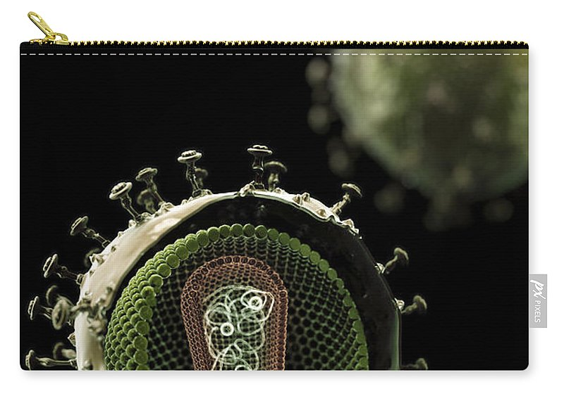 Sick Carry-all Pouch featuring the photograph Hiv Structure by Science Picture Co