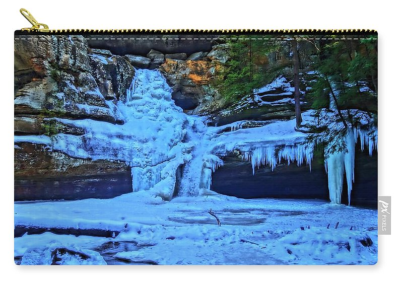 Hocking Hills State Park In Winter Carry-all Pouch featuring the photograph Hocking Hills State Park In Winter by Dan Sproul