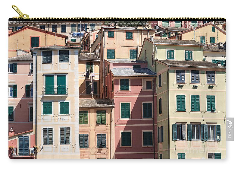 Architecture Carry-all Pouch featuring the photograph homes in Camogli by Antonio Scarpi
